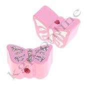 1 Motivperle Schmetterling Rosa mit Glitzer Prägung