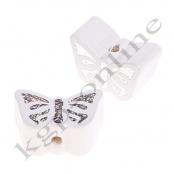 1 Motivperle Schmetterling Weiß mit Glitzer Prägung