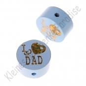 1 Glitzerscheibe I ♥ MUM / I ♥ DAD Babyblau / Gold