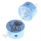 1 Glitzerscheibe I ♥ MUM / I ♥ DAD Babyblau