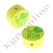 1 Scheibe I ♥ MUM / I ♥ DAD Lemon mit Druck