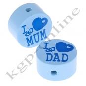 1 Scheibe I ♥ MUM / I ♥ DAD Babyblau mit Druck