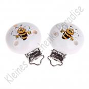 1 Schnullerclip Bienchen Weiß