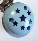 1 Schnullerclip Sternchen Babyblau