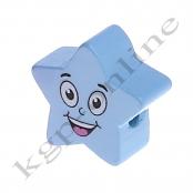 1 x 5 Zackstern Smiley Babyblau