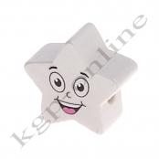 1 x 5 Zackstern Smiley Weiss