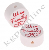 1 x Glitzerscheibe We are Family Rot