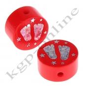 1 x Glitzer Scheibe Füßchen mit Sternchen Rot