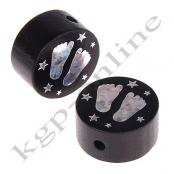 1 x Glitzer Scheibe Füßchen mit Sternchen Schwarz
