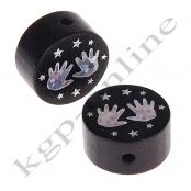 1 x Glitzer Scheibe Händchen mit Sternchen Schwarz
