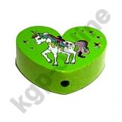 1 x Herz Einhorn Gelbgrün