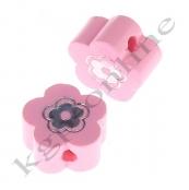 1 x Miniblümchen mit Glitzer in Rosa