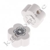 1 x Miniblümchen mit Glitzer in Weiß