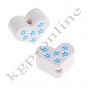 1 x Miniherz Sternchendruck Weiß mit Hellblau Vertikal