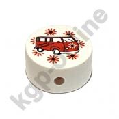 1 x Motivscheibe Flower Power Sommerbus in Weiß mit Rot
