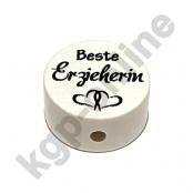 1 x Scheibe Beste  Erzieherin in Weiß