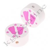 1 x Scheibe Füßchen mit Sternchen Weiß/Hellpink