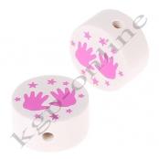 1 x Scheibe Händchen mit Sternchen Weiß/Hellpink