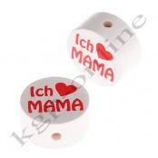 1 x Scheibe ICH ♥ MAMA Weiss/Rot