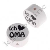 1 x Scheibe ICH ♥ OMA mit Schwarzer Schrift