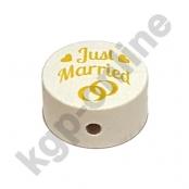 1 x Scheibe Just Married Weiß mit Goldgelb