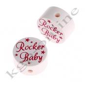 1 x Scheibe Rocker Baby Weiß mit Dunkelpink H2