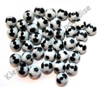 25 Mini Fussballperlen 8mm Schwarz/Weiß