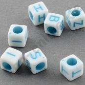 250 Weiße Buchstabenwürfel mit Blauer Schrift 6x6mm