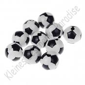 25 Fussballperlen 12mm Schwarz/Weiß