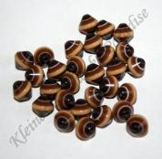25 Kunststoff Bicone Braun 8mm mit Streifen Perlen