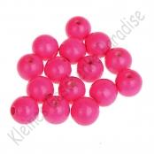 30 Holzperlen 10 mm Neon Pink