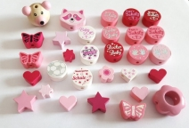 30 Motivperlen im Mixpaket Rosa , Pink
