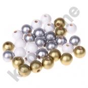 30stk.Holzperlenmix 12mm Gold/Silber/Weiß