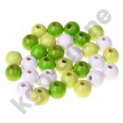 30stk.Holzperlenmix 12mm Gelbgrün/Lemon/Weiß