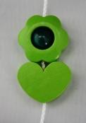 3er Gelbgrün Motivperlen Set Gr. Blume / Herz