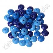 50 Holzlinsenmix Dunkelblau/Mittelblau/Skyblau