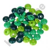 50 Holzlinsenmix Gelbgrün/Grün/Dunkelgrün