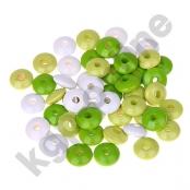 50 Holzlinsenmix Gelbgrün/Lemon/Weiß