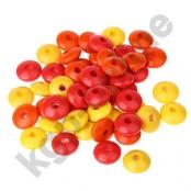 50 Holzlinsenmix Rot/Orange/Gelb