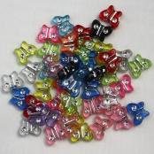 50 stk. Kunstoff Strass-Effekt-Perlen Schmetterling 11mm