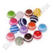 50 Kunststoffperlen 10mm mit Streifen Perlen