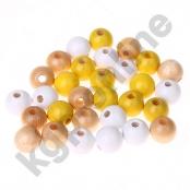 50 stk. Holzperlenmix 10 mm Gelb/Natur/Weiß