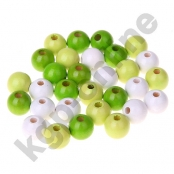 50 stk. Holzperlenmix 10mm Gelbgrün/Lemon/Weiß