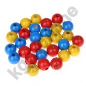 50 stk. Holzperlenmix 10mm Rot/Gelb/Mittelblau