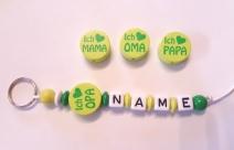Ich Liebe OMA , OPA , MAMA o. PAPA Schlüsselanhänger Lemon mit N