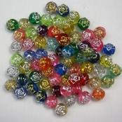 100 stk. Kunstoff Blume Glitzer-Effekt-Perlen 6mm
