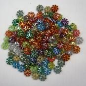 50 stk. Kunstoff Strass-Effekt-Linsen Blume mit Glitzer 7mm