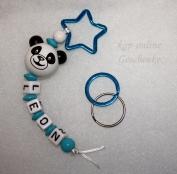 Panda Schlüsselanhänger Blau mit Namen