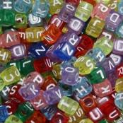 250 Transparente Buchstabenwürfel Bunt 6x6mm