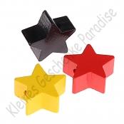 *3x Motivperle Stern in  Schwarz / Rot / Gelb
